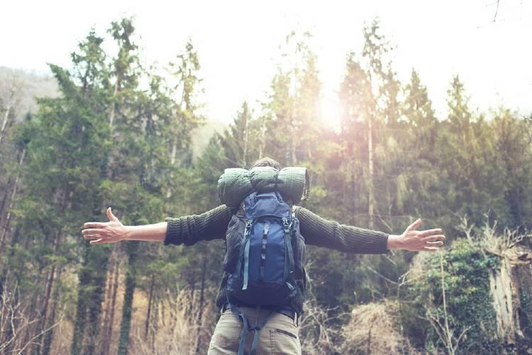 mochilero en un bosque feliz plenitud aventura libertad
