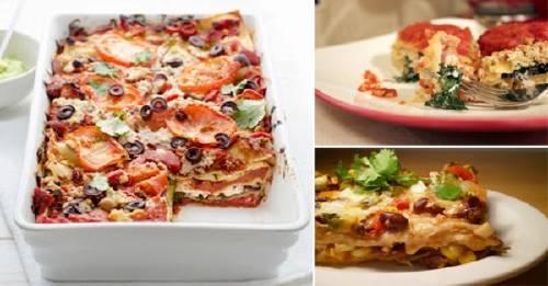 Lasaña vegetariana de espinaca, tofu y zucchini