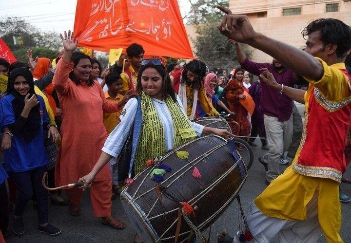 Protesta por el Día de la Mujer en Pakistán