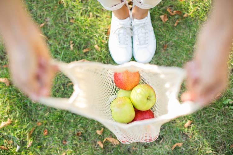 fruta en bolsa reutilizable