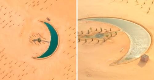 Conoce el impresionante lago con forma de medialuna escondido en Dubái