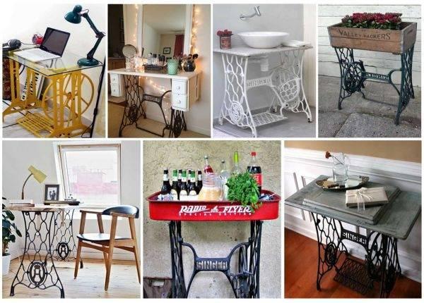 Reciclar antiguas máquinas de coser en muebles vintage