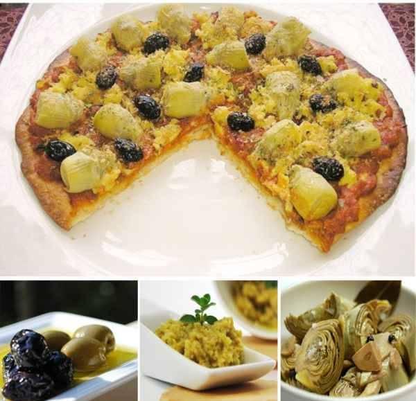 Pizza de Alcauciles con tofu y pasta de aceitunas verdes