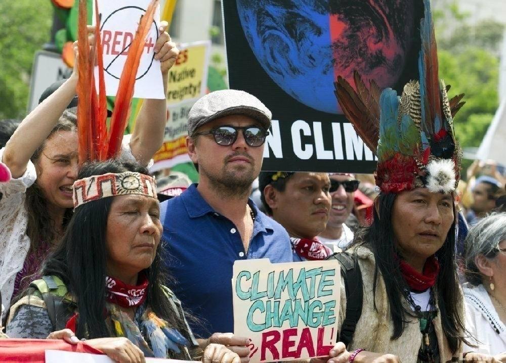 Leonardo Di Caprio se unió a la marcha por el cambio climático en Estados Un..