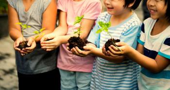 Niños con plantines en las manos