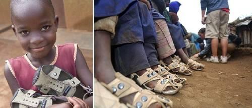 Un hombre inventó zapatos que crecen de talla para ayudar a los niños más p..