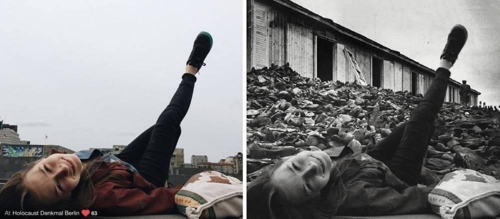 Este artista te hará pensar con estos montajes de selfies en un campo de conc..