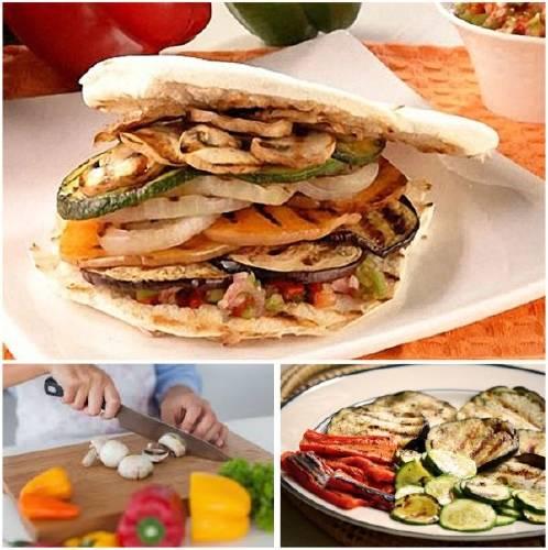 Sándwich multicolor de vegetales grillados
