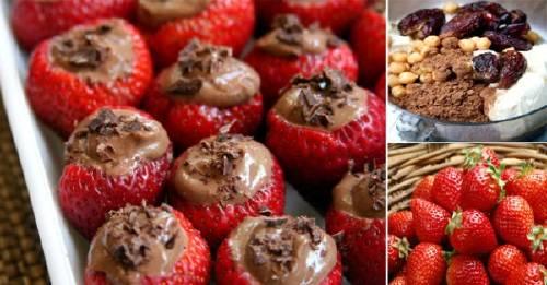 Fresas rellenas con mousse de chocolate
