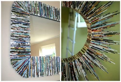 5 marcos para espejos creados con objetos reutilizados