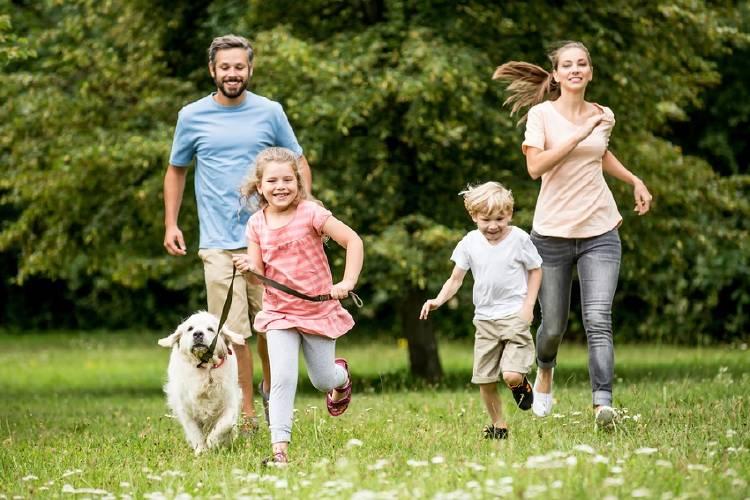 familia corriendo y divirtiendose en el parque