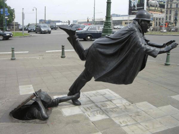 De Vaartkapoen (Policía Ser disparado), Bruselas, Bélgica