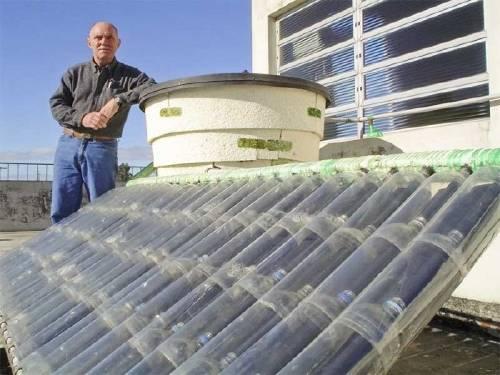 Calentador solar con botellas PET