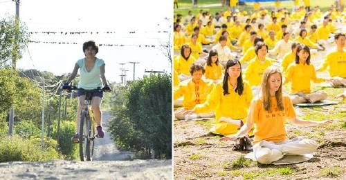 Una joven que anda en bicicleta por la paz