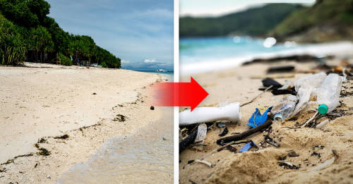 Isla antes y después de ser contaminada por plásticos de un solo uso