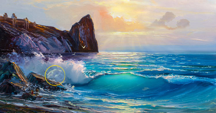 Test pintura pareja olas