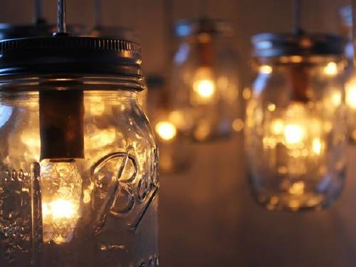 Lámpara con frascos