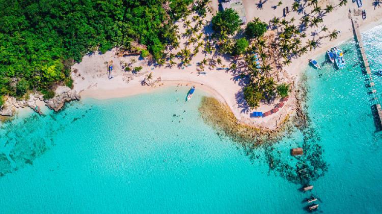 Vista aérea de la isla de Saona, República Dominicana