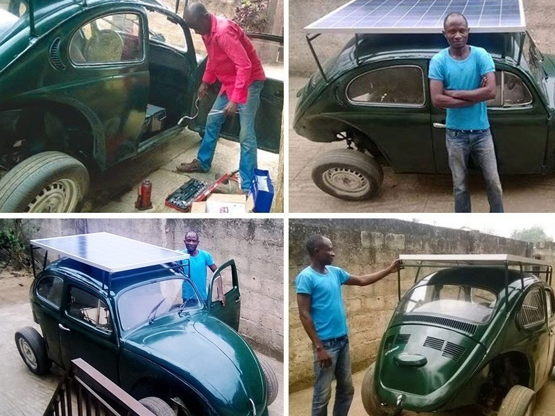 Un Volkswagen escarabajo convertido en un coche solar-eólico