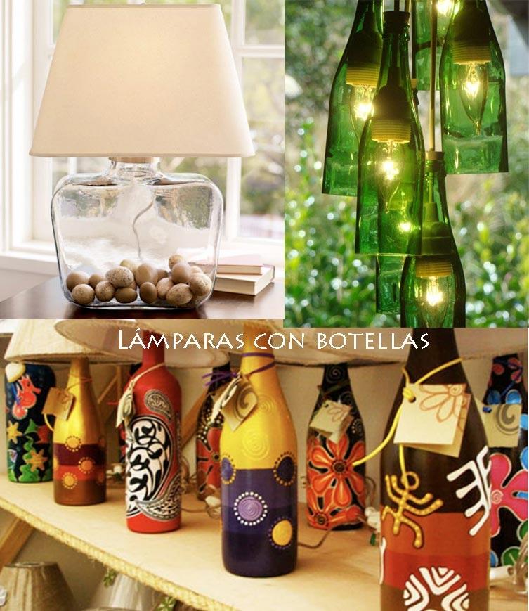 L mparas con botellas de vidrio - Manualidades con botellas de cristal ...