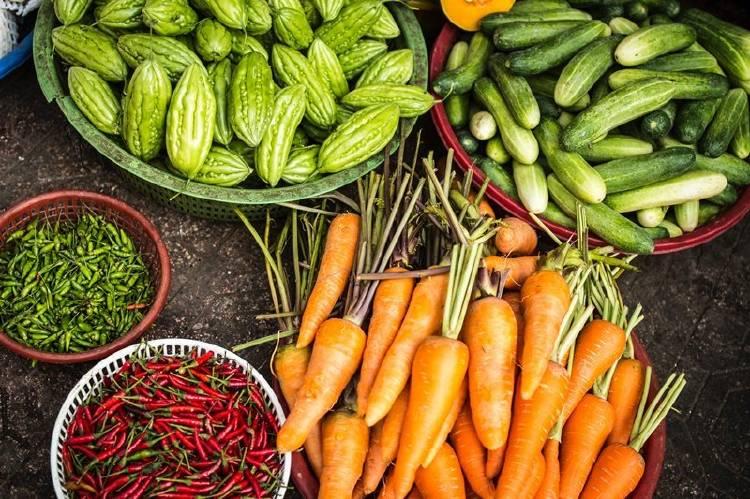 Variedad de vegetales en recipientes