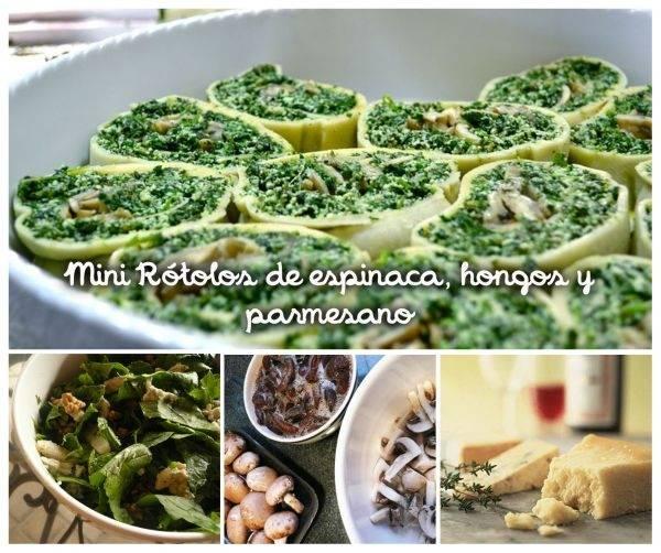 Mini Rótolos de espinaca, hongos y parmesano