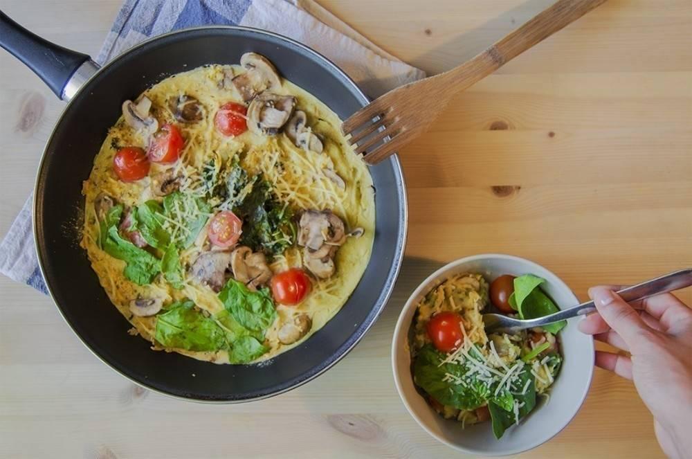 Omelette de champiñones y espinaca ¡sin huevo!