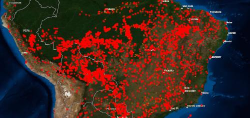 Mapa de incendios en Brasil
