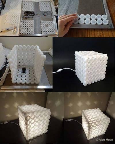 Lámparas con tapitas de botellas